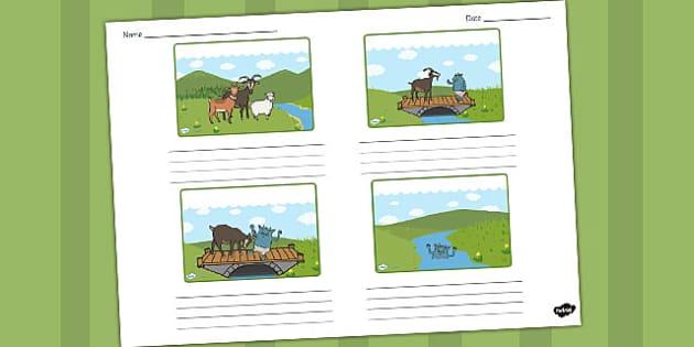 The Three Billy Goats Gruff Storyboard Template - storyboard