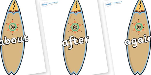KS1 Keywords on Surf Boards - KS1, CLL, Communication language and literacy, Display, Key words, high frequency words, foundation stage literacy, DfES Letters and Sounds, Letters and Sounds, spelling
