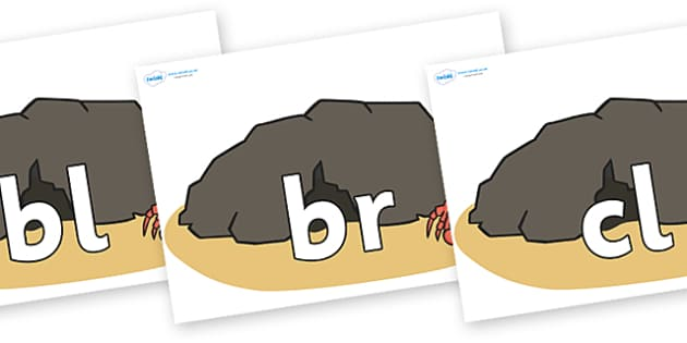 Initial Letter Blends on Caves - Initial Letters, initial letter, letter blend, letter blends, consonant, consonants, digraph, trigraph, literacy, alphabet, letters, foundation stage literacy