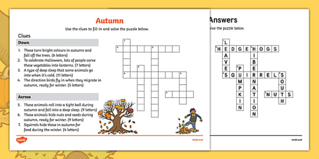 KS1 Autumn Crossword