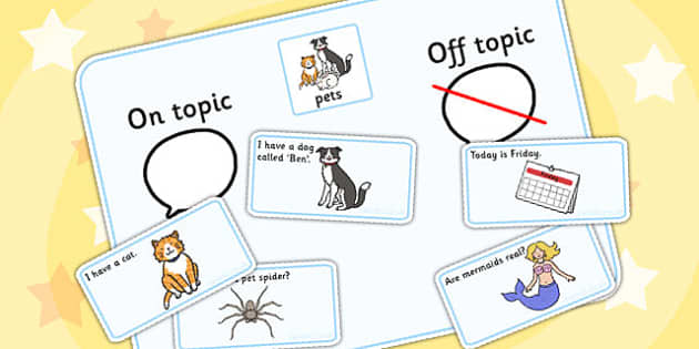 On Topic Off Topic Conversation Sorting Game Pets - ordering