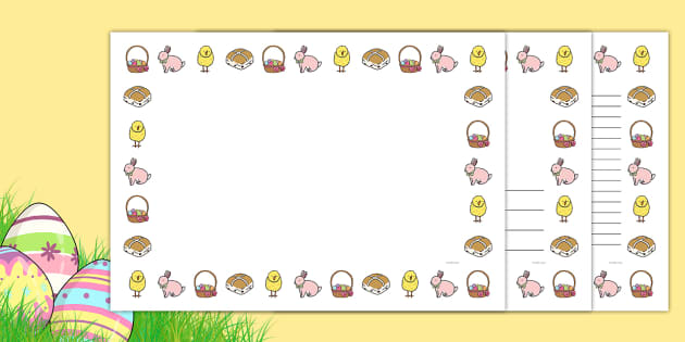 Easter Full Page Borders (Landscape) - page border, border, frame, writing frame, writing template, easter, easter page borders, easter page border, easter writng frame, writing aid, writing, A4 page, page edge, writing activities, lined page, lined