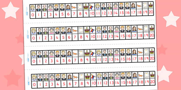 Royal Family Number Track 1 20 - count, counting, counting aid