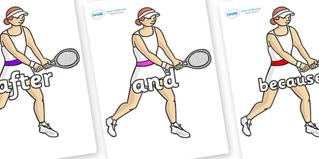 Connectives on Tennis Players - Connectives, VCOP, connective resources, connectives display words, connective displays