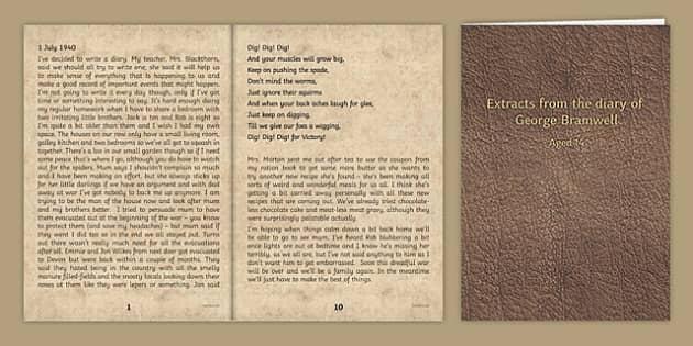 Second World War Diary Writing Sample