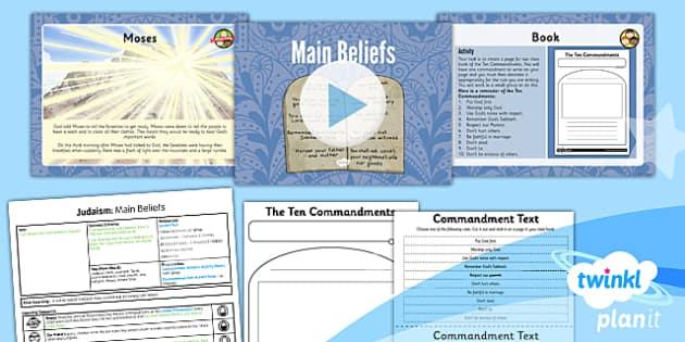 PlanIt - RE Year 3 - Judaism Lesson 2: Main Beliefs Lesson Pack - jew, covenant, Torah, commandments, Moses