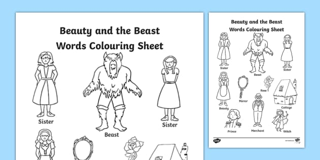 Beauty and the Beast Words Colouring Sheet - traditional tales