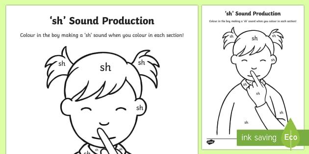 sh Sound Production Colouring Sheet - sh, sound, colour, sounds