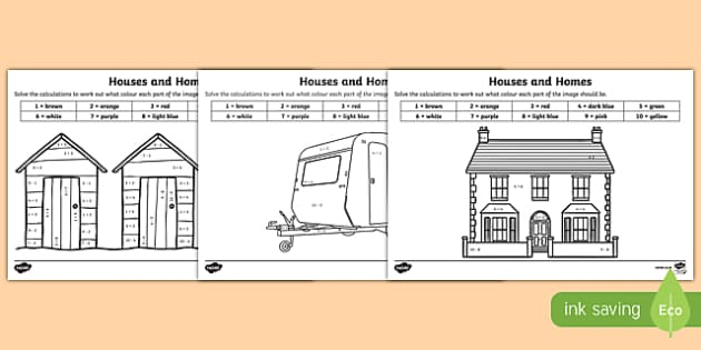 Houses and Homes Addition and Subtraction to 10 Colour by Number