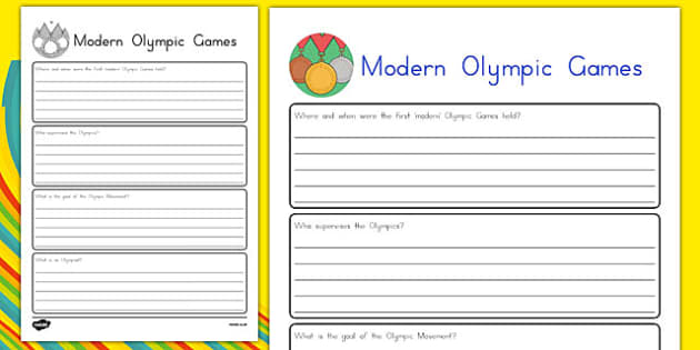 Modern Olympic Games Research Sheet - usa, america, mordern olympic games, rio 2016, research sheet, research