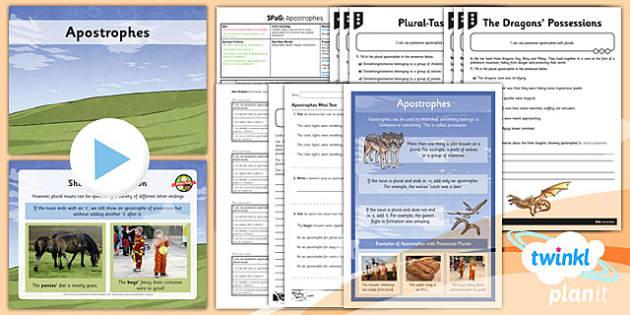PlanIt Y4 SPaG Lesson Pack: Apostrophes  - planit, y4, spag, lesson pack, lesson, pack
