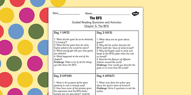 Guided Reading Questions Chapter 5 to Support Teaching on The BFG - roald dahl, reading aid