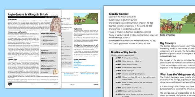 Anglo-Saxons and Vikings History Fact Sheet for Adults - history, fact sheet, vikings