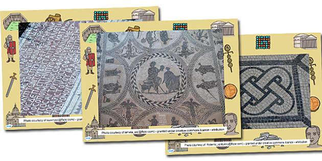 Roman Mosaic Photo PowerPoint - roman, romans, roman mosaics, mosaics, mosaic, mosaic photos, mosaic photo powerpoint, mosaic power point, roman powerpoint
