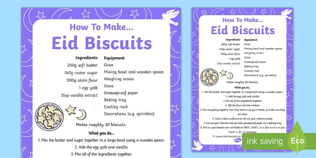 Making Eid Biscuits Recipe Sheet - making, eid biscuits, recipe