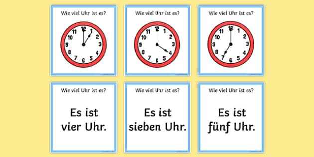 Telling the Time in German Loop Cards