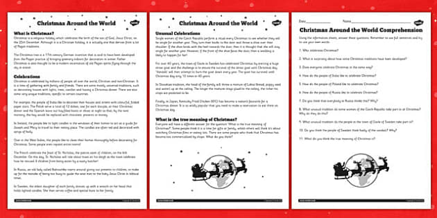 Christmas Around the World Differentiated Reading Comprehension – Christmas Comprehension Worksheets