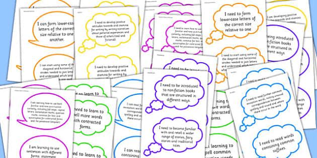 2014 Curriculum Reading Writing Assessment I Can Speech Bubbles