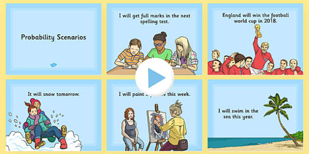 Probability Scenarios PowerPoint - KS2, Key Stage 2, Probability, Impossible, Unlikely, Likely, Certain, Scenarios