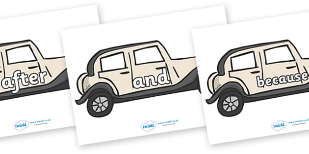 Connectives on Wedding Cars - Connectives, VCOP, connective resources, connectives display words, connective displays
