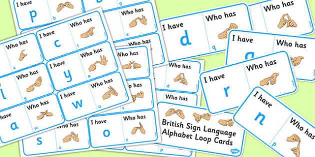 British Sign Language Alphabet Loop Card Activity - loop cards