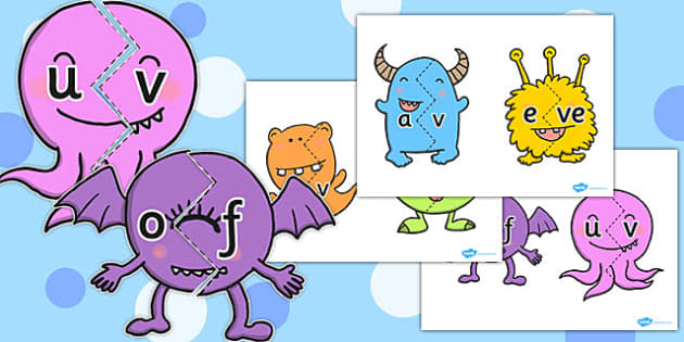 Vowel and Final 'V' Sound Monster Jigsaw - final v, sound, monster
