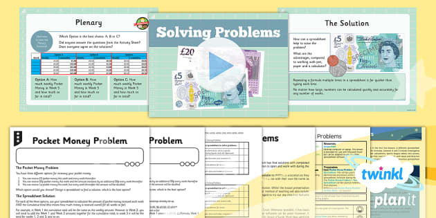 Excel Spreadsheet Skills: Solving Problems - Year 6 Computing Lesson Pack