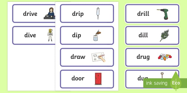 'dr' and 'd' Near Minimal Pair Word Cards - cluster simplification, cluster reduction, phonology, articualtion