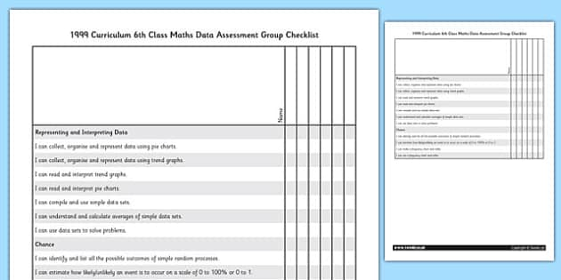 1999 Curriculum 6th Class Maths Data Assessment Group Checklist - roi, gaeilge, ireland, republic of ireland