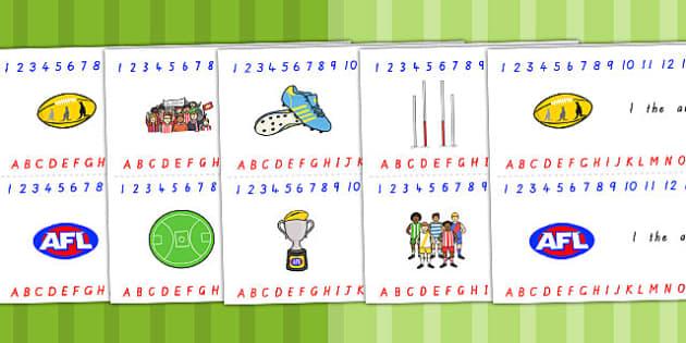 Australian Football League Combined Number Alphabet Strips