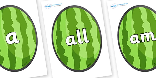 Foundation Stage 2 Keywords on Melons (Vertical) - FS2, CLL, keywords, Communication language and literacy,  Display, Key words, high frequency words, foundation stage literacy, DfES Letters and Sounds, Letters and Sounds, spelling