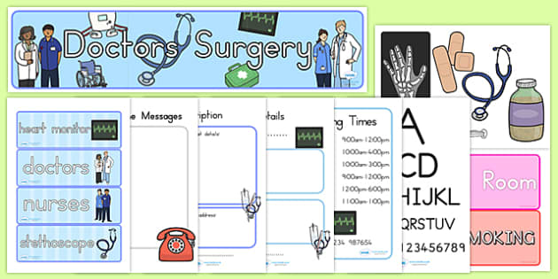 Doctors Surgery Role Play Pack - doctor, hospital, roleplay, pack