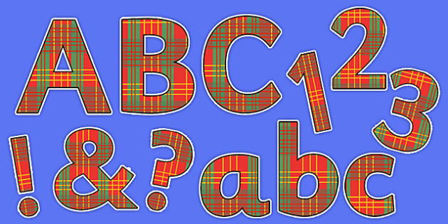 Display Lettering & Symbols (Tartan) - A-Z, A4, display, Scottish, Alphabet frieze, Display letters, Letter posters, A-Z letters, Alphabet flashcards