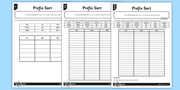 dis-, mis-, un- Differentiated Activity Sheet Pack - prefix, year 3, year 4, y3, y4, spag, spelling, word, appendix 1, national curriculum, grammar, worksheet