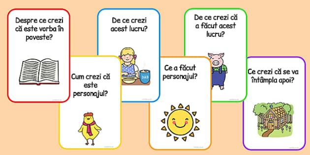 Cartonase cu Intrebari din Poveste-  intelegerea measajului citit