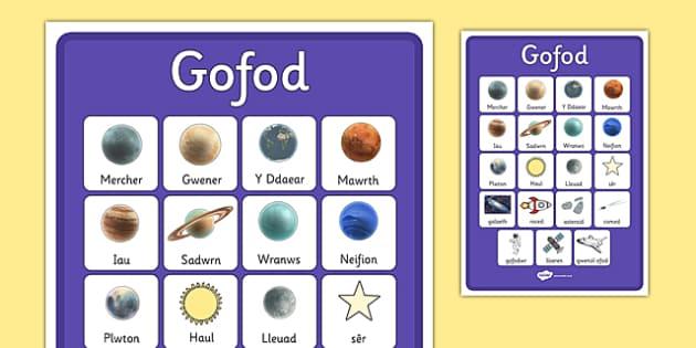 Geirfa 'Y Gofod' - gofod, vocab, display