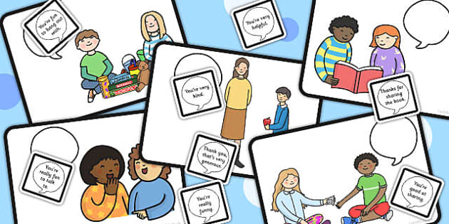 Giving Compliments Picture Card - visual aid, making friends, SEN