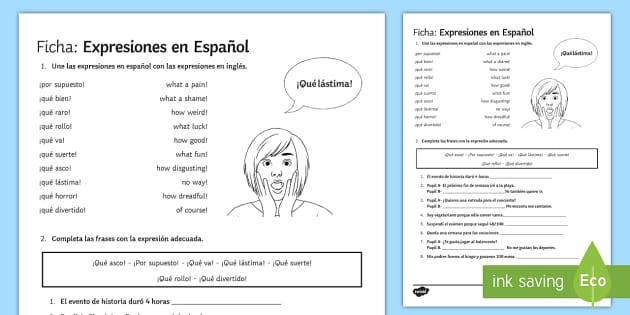 Spanish Expressions Activity Sheet - Spanish Speaking Practice