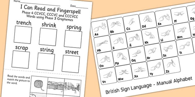 Can Read Fingerspell 4 CCVCC CCCVC CCCVCC Words Phase 3 Grapheme