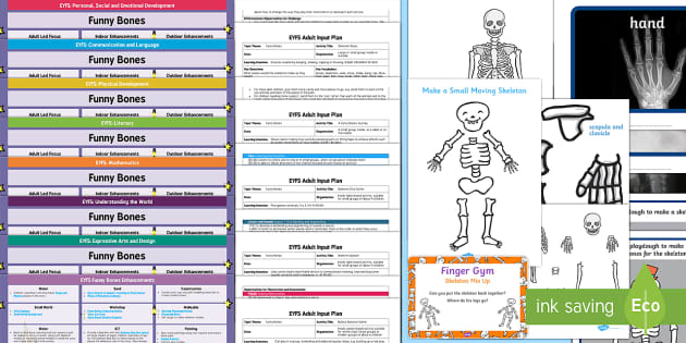 EYFS Lesson Plan, Enhancement Ideas and Resources Pack to Support Teaching on Funnybones - Early Years, continuous provision, early years planning, adult led, Funnybones, Funny Bones, Janet and Allan Ahlberg, skeletons, Halloween