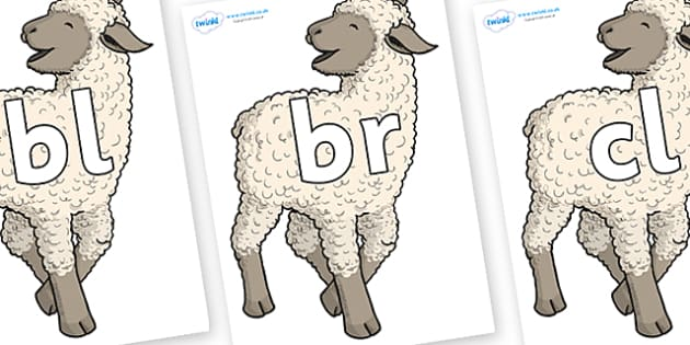 Initial Letter Blends on Lamb - Initial Letters, initial letter, letter blend, letter blends, consonant, consonants, digraph, trigraph, literacy, alphabet, letters, foundation stage literacy