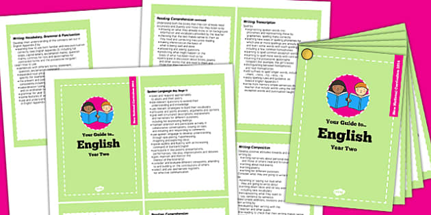 2014 Curriculum Cards Year 2 English - new curriculum, literacy