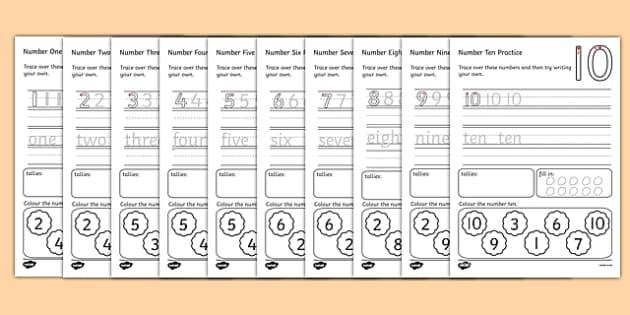 Practising Numbers Worksheet - numbers, number practise, worksheet, practising numbers, numbers worksheet, writing numbers, counting, numeracy, maths