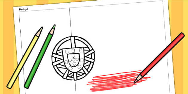 Portugal A4 Colouring Flag - geography, flags, country, colour in