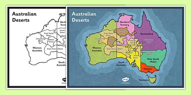 Australian Deserts Map - Science, Geography, Habitats, Australian Curriculum, Desert, Map