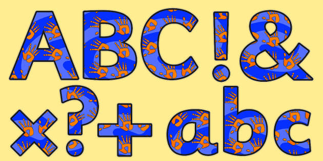 Orange and Blue Handprint Themed Size Editable Display Lettering