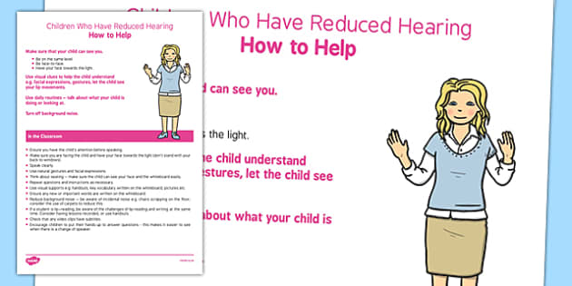 Supporting Students with Reduced Hearing Strategy Sheet