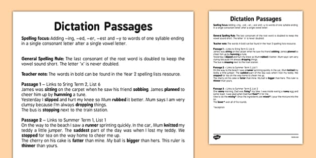 Dication Passages - Adding -ing -ed -er -est -and -y to Words of One Syllable En - spelling, suffix, grammar, SPaG, comparative, verb, noun, adjectives