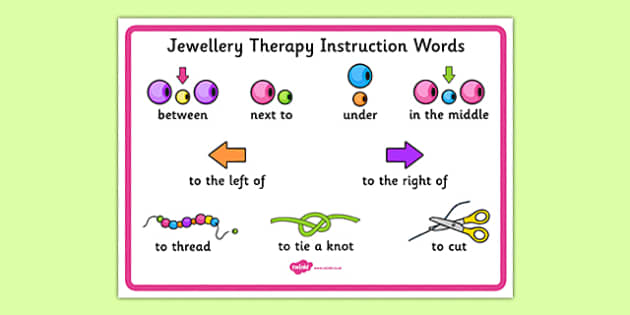 Jewellery Therapy Instruction Words - lego therapy, speaking and listening, peer interaction, autism, giving instructions, social skills