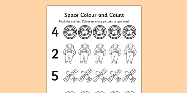 Space Themed Count and Colour Sheet - colouring, sheets, counting